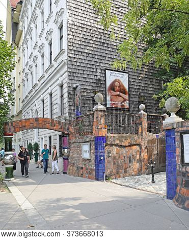 Vienna, Austria - July 12, 2015: Entrance To Kunst Haus Museum And Cafe By Architect Hundertwasser I
