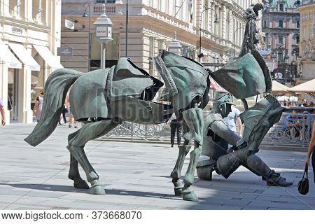 Vienna, Austria - July 11, 2015: Iron Horse And Man Soldier Temporary Art Installation At Graben Str