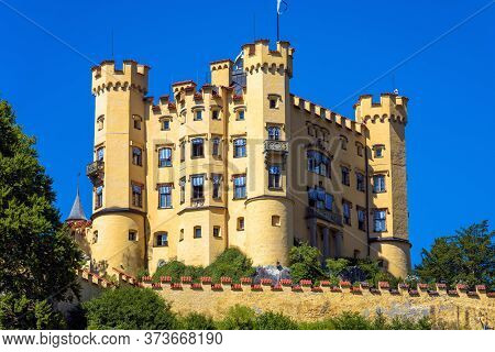 Hohenschwangau Castle Near Fussen, Germany. This Castle Is Famous Tourist Attraction Of Bavarian Alp