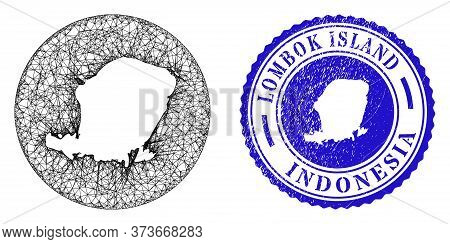 Mesh Subtracted Round Lombok Island Map And Grunge Seal Stamp. Lombok Island Map Is Inverted In A Ro