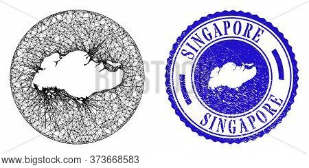 Mesh Inverted Round Singapore Map And Grunge Seal. Singapore Map Is A Hole In A Circle Seal. Web Net