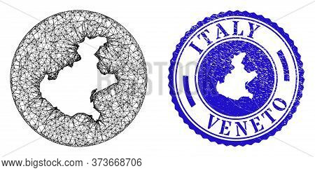 Mesh Stencil Round Veneto Region Map And Grunge Seal Stamp. Veneto Region Map Is Stencil In A Round