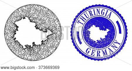 Mesh Inverted Round Thuringia Land Map And Grunge Seal Stamp. Thuringia Land Map Is Inverted In A Ci