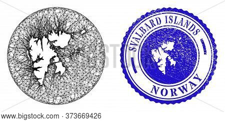 Mesh Stencil Round Svalbard Islands Map And Grunge Seal Stamp. Svalbard Islands Map Is A Hole In A C