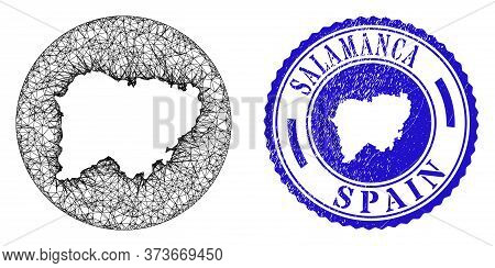 Mesh Stencil Round Salamanca Province Map And Scratched Seal Stamp. Salamanca Province Map Is A Hole
