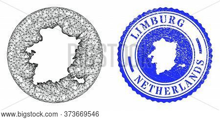 Mesh Stencil Round Limburg Province Map And Scratched Stamp. Limburg Province Map Is Stencil In A Ro