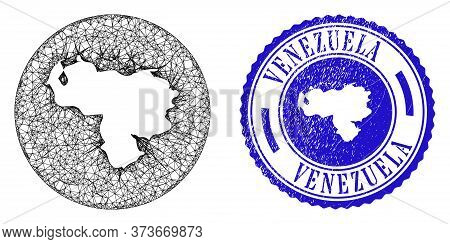 Mesh Hole Round Venezuela Map And Scratched Stamp. Venezuela Map Is Subtracted From A Circle Stamp S