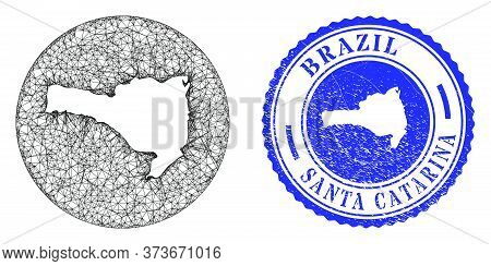 Mesh Hole Round Santa Catarina State Map And Grunge Stamp. Santa Catarina State Map Is A Hole In A R