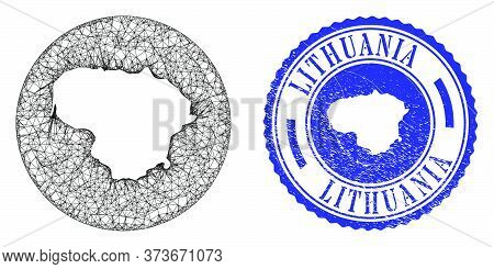 Mesh Inverted Round Lithuania Map And Scratched Stamp. Lithuania Map Is A Hole In A Circle Stamp. We