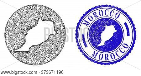 Mesh Hole Round Morocco Map And Scratched Seal Stamp. Morocco Map Is A Hole In A Circle Stamp. Web N