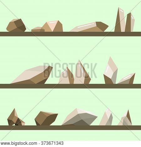 Set Of Stones.stones Rocks In Modern Style.brown Mountains And Cliffs Vector.  Vector Illustration