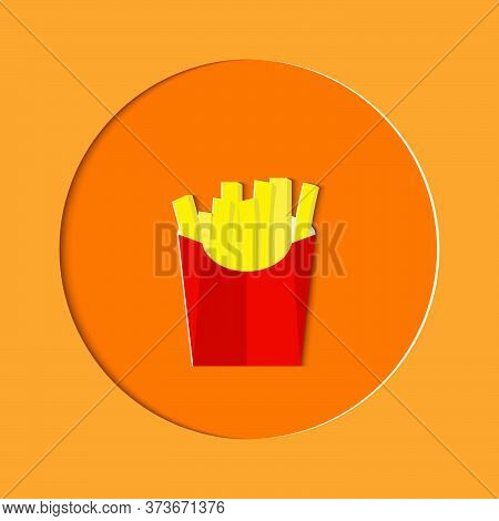 French Fries In Red Paper Packaging Bags Isolated On Background.french Fries With Salt In A Paper Ba