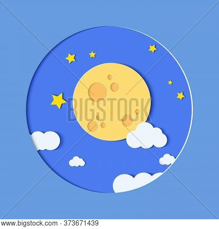 Night Sky Moon With Star.fluffy Clouds And Stars In Midnight.vector Illustration