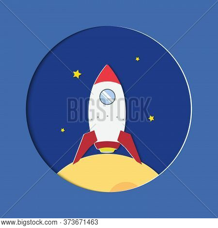 Rocket And Star. Rocket In Space.cartoon Rocket Launch Space Vector.vector Illustration