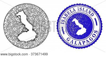 Mesh Hole Round Isabela Island Of Galapagos Map And Grunge Seal Stamp. Isabela Island Of Galapagos M