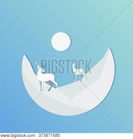 Deer At Night Illustration.night Deer Moon Shadow Illustration.vector Illustration