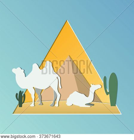 Camel Caravan Going Through The Desert, Camel In The Desert With Pyramids In Egypt.vector Illustrati