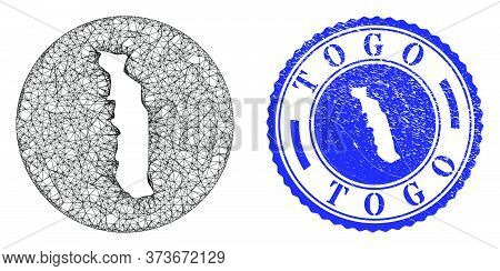 Mesh Hole Round Togo Map And Grunge Seal Stamp. Togo Map Is A Hole In A Circle Stamp Seal. Web Mesh