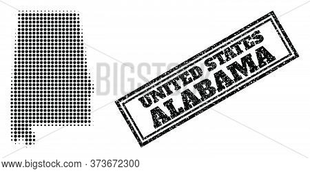 Halftone Map Of Alabama State, And Scratched Seal Stamp. Halftone Map Of Alabama State Made With Sma