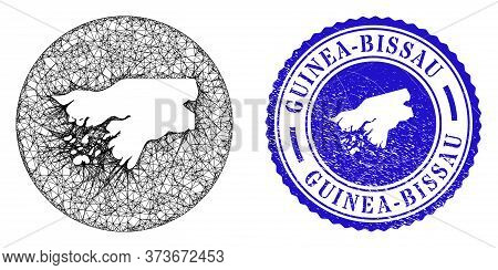 Mesh Hole Round Guinea-bissau Map And Grunge Seal Stamp. Guinea-bissau Map Is Carved In A Circle Sta