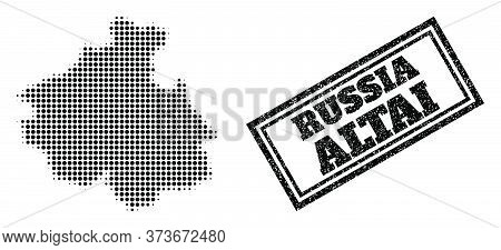 Halftone Map Of Altai Republic, And Unclean Seal. Halftone Map Of Altai Republic Generated With Smal