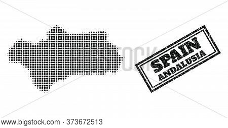 Halftone Map Of Andalusia Province, And Rubber Watermark. Halftone Map Of Andalusia Province Designe