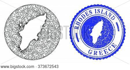 Mesh Stencil Round Rhodes Island Map And Scratched Seal Stamp. Rhodes Island Map Is Stencil In A Rou