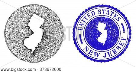 Mesh Inverted Round New Jersey State Map And Scratched Seal. New Jersey State Map Is A Hole In A Cir