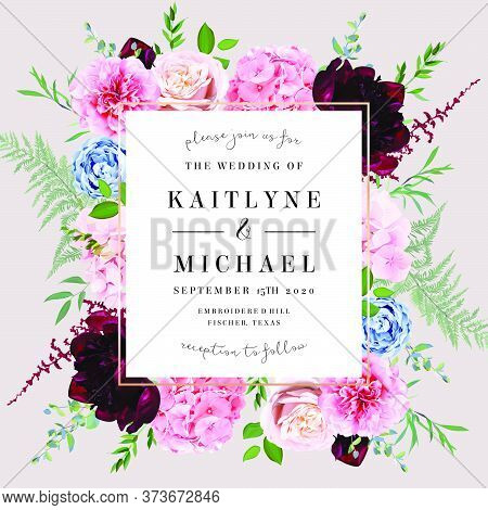 Square Baroque Floral Label Pink Frame Arranged From Leaves And Flowers. Blush Pink Rose, Burgundy D