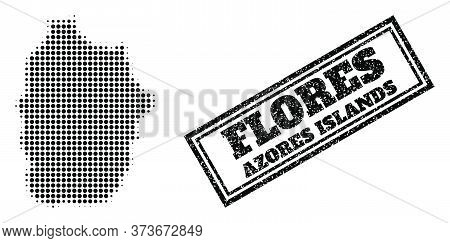 Halftone Map Of Azores - Flores Island, And Grunge Seal Stamp. Halftone Map Of Azores - Flores Islan