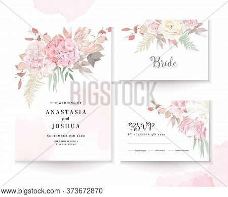 Elegant Wedding Cards With Pink Watercolor Texture And Dry Flowers. White Peony, Ranunculus, Hydrang