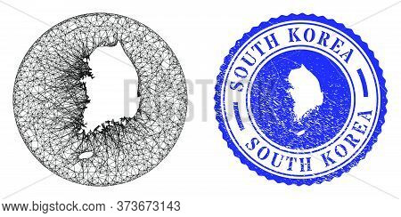 Mesh Subtracted Round South Korea Map And Scratched Stamp. South Korea Map Is A Hole In A Round Seal
