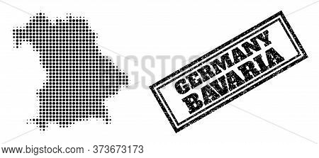 Halftone Map Of Bavaria State, And Dirty Watermark. Halftone Map Of Bavaria State Designed With Smal