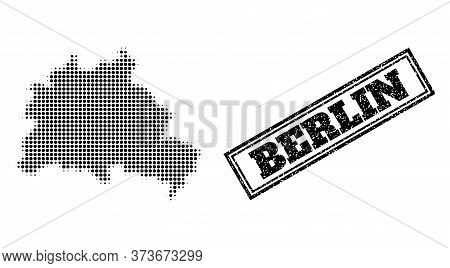 Halftone Map Of Berlin City, And Textured Watermark. Halftone Map Of Berlin City Generated With Smal