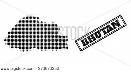 Halftone Map Of Bhutan, And Unclean Seal. Halftone Map Of Bhutan Made With Small Black Circle Dots.