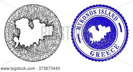 Mesh Inverted Round Mykonos Island Map And Grunge Seal Stamp. Mykonos Island Map Is Stencil In A Cir