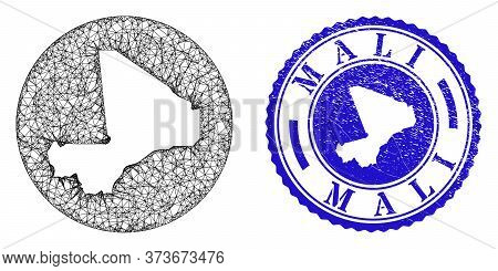 Mesh Stencil Round Mali Map And Grunge Seal Stamp. Mali Map Is Stencil In A Round Stamp. Web Net Vec