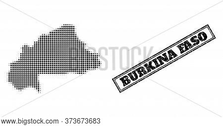 Halftone Map Of Burkina Faso, And Scratched Watermark. Halftone Map Of Burkina Faso Designed With Sm