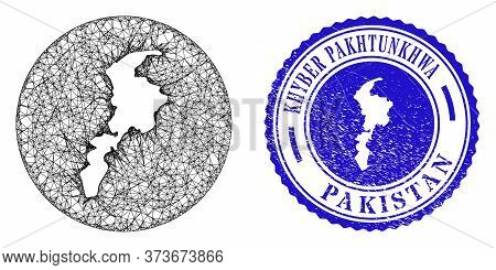 Mesh Inverted Round Khyber Pakhtunkhwa Province Map And Grunge Seal Stamp. Khyber Pakhtunkhwa Provin