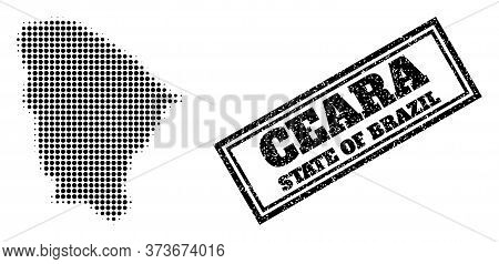 Halftone Map Of Ceara State, And Dirty Seal Stamp. Halftone Map Of Ceara State Made With Small Black