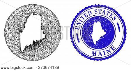 Mesh Hole Round Maine State Map And Grunge Seal. Maine State Map Is A Hole In A Round Stamp Seal. We