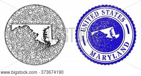 Mesh Inverted Round Maryland State Map And Scratched Stamp. Maryland State Map Is Cut Out From A Rou
