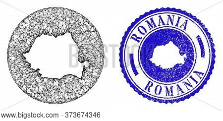 Mesh Inverted Round Romania Map And Grunge Seal. Romania Map Is Inverted In A Circle Seal. Web Netwo