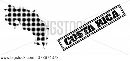 Halftone Map Of Costa Rica, And Grunge Watermark. Halftone Map Of Costa Rica Made With Small Black S