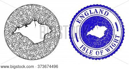 Mesh Subtracted Round Isle Of Wight Map And Grunge Seal Stamp. Isle Of Wight Map Is Carved In A Roun