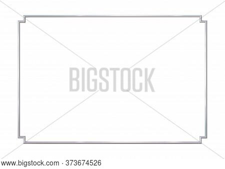 Rectangle Realistic Frame Metal Or Silver With Inverted Corners. Slender On White Background. Steel,