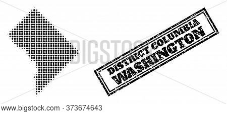Halftone Map Of District Columbia, And Rubber Seal Stamp. Halftone Map Of District Columbia Generate