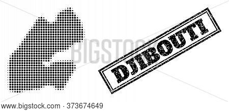 Halftone Map Of Djibouti, And Dirty Watermark. Halftone Map Of Djibouti Constructed With Small Black