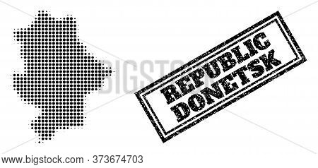 Halftone Map Of Donetsk Republic, And Rubber Watermark. Halftone Map Of Donetsk Republic Constructed