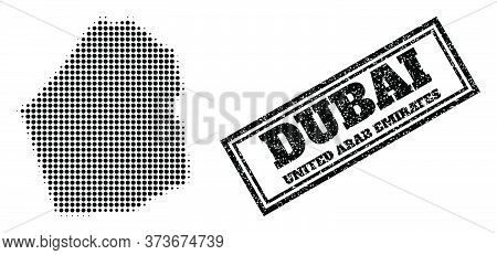 Halftone Map Of Dubai Emirate, And Scratched Seal. Halftone Map Of Dubai Emirate Designed With Small